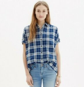 MADEWELL Womens Courier Short Sleeve Plaid Shirt In Blue Small NWOT