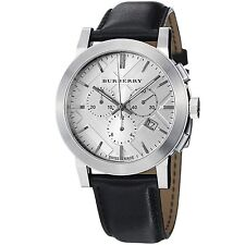 Burberry Men's Silver Chronograph Stainless Steel Black Leather Watch BU9355