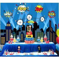 Vinyl Superhero City Photography Backdrops Kids Birthday Party Photo Background