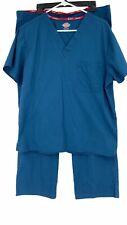 Dickies Unisex Scrub Workwear 2-piece lot Euc Blue Medium Short Pants Top