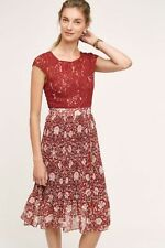 Anthropologie Plenty by Tracy Reese Arcadia Midi Dress 8 10 Lace Pleated Rust