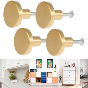 4PCS Gold Brass Drawer Knobs Handles Pulls Round Cupboard Cabinet Door Kitchen