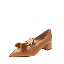 RRP€175 PREZIOSO Leather Shoes EU 40 UK 7 US 10 Mink Fur Tassels Made in Italy