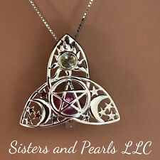 Triquetra Trinity Knot Sterling Silver Cage Pendant Pearl Akoya Oyster USA