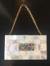 Evans MINAUDIERE Rhinestone MOTHER OF PEARL Cosmetic Evening BAG Handbag