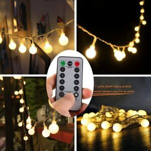 Outdoor String Lights Patio Yard Garden Lighting Waterproof Ball Led White Globe