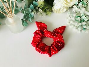 Hair scrunchie with bow - Red polka patterned
