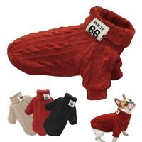 Pet Dog Jumpers Coats Hand Knit Cat Puppy Chihuahua Clothes POLO Neck Sweaters