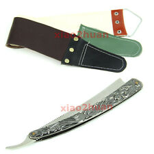 Stainless Steel Barber Straight Shaving Razor Shaver Sweeney Todd + Strop cloth
