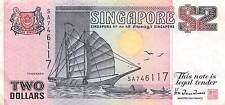Singapore $2 ND. 1992 P 28 prefix SA circulated Banknote G. A2