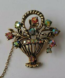 Vintage Flower Basket Aurora Borealis Giardinetto Garden Crystal Pin Brooch