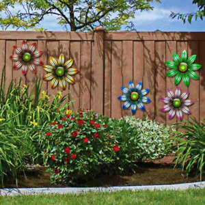 Metal Flower Wall Art Outdoor Fence Hanging Ornament for Garden Home Decoration