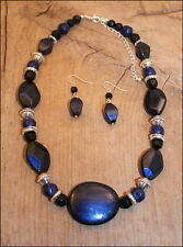 NEW Dark Blue-Black-Silver Beads Necklace & Earring Set