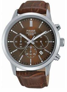 Pulsar Gents Chronograph Leather Strap Watch PT3739X1 PNP