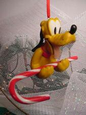 THE DISNEY STORE CHRISTMAS ORNAMENT PLUTO w Big CANDY CANE see photos A+