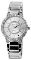 Damenuhr Silber Strass Analog Metall Quarz Armbanduhr X-1800065-003