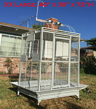 """Xx Large 40""""x30""""x72"""" ;H Parrot Cage For Macaw African Grey Amazon Large Bird Wht"""