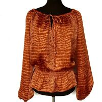 MICHAEL KORS Women's Size Small Swirl Long Sleeve Tie-Front Blouse