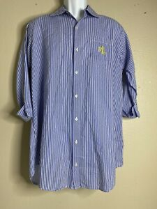 Lauren Ralph Lauren Men Size S Blue Striped Shirt Cuffed Sleeve Yellow LRL