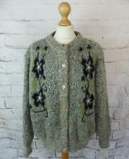 Vintage lined grey soft floral beaded mohair blend cardigan retro blogger 20 XL