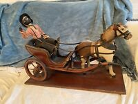 Rare Antique OOAK? Toy Folk Art Americana Horse And Carriage With Black Driver