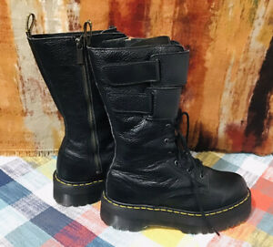 Dr Martens Jagger Black Leather 10-Eye Combat Boots Women's US 10 UK 8 EU 42