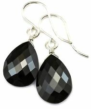 Black Spinel Earrings Simple Facet Briolette Teardrop Pear  AAA Sterling Silver