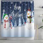 Blue snowman Style Curtain Bathroom Rug Set Bath Mat Non-Slip Toilet Lid
