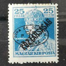 Hongrie 1919 Debrecen 25F Bleu King Karl IV Black Overprint Koztarsasag E.TAUSIG