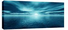 "LARGE BLUE SEASCAPE SEA SUNSET CANVAS PICTURE 44""x20"""