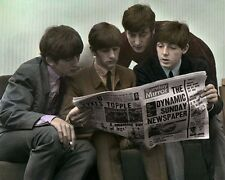 "THE BEATLES READING SUNDAY MIRROR 1963  8x10"" HAND COLOR TINTED PHOTOGRAPH"