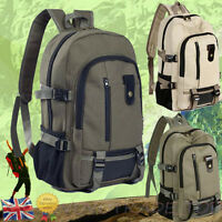 Vintage Large Canvas Backpack Mens Sport Rucksack Satchel School Hiking Bag New