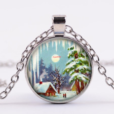 Christmas,Winter Art Cabochon Tibetan Silver Glass Chain Pendant Necklace