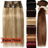 100g~250g 7A+ Extra Thick Clip In Remy Human Hair Extensions Full Head 14''~26''
