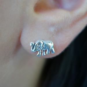 Pair of 925 Sterling Silver Elephant Stud Earrings Ear Studs Jewellery Jewelry
