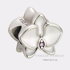 Authentic Pandora Sterling Silver White Enamel & CZ Orchid Bead 792074EN12