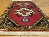 """Beautiful 1950-1960's Vintage 2'1"""" × 3'7"""" Natural Dye, Wool Pile Tribal Rug"""