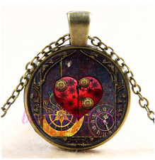 Vintage Steampunk Red Hearts Cabochon Glass Bronze Chain Pendant Necklace
