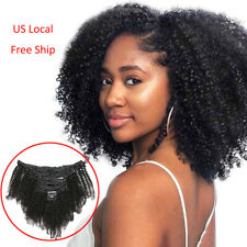 New ListingUs Ship 8Inch Afro Kinky Curly Weave Clip in Real Human Hair Extension 8pcs 120g