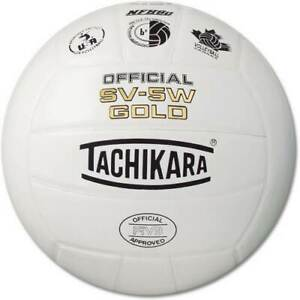 Tachikara SV-5W Gold Volleyball - BRAND NEW EA NFHS - White Official Leather