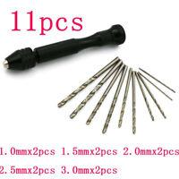 11PCS Precision Mini Hand Drill Chuck Micro Twist Drill Bits Rotary Tools Set