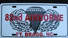 License Plate, 82nd. AIRBORNE/Ft. BRAGG< NC #711008 -New, HD Scuff Free Plastic