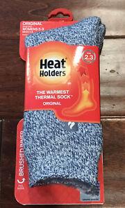 Heat Holders Original Unisex Tog 2.3 Blue Denim Cream Socks Sz W 5-9 M 4-8 NWT