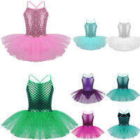 Kid Girls Ballet Dance Leotard Dress Tutu Skirt Sequin Mermaid Dancewear Costume