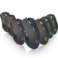 LED Optical USB Wired Gaming Mice Mouse 7Buttons 3200DPI Programmable Ergonomic