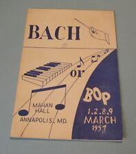 1957 United States Naval Academy Bach or Bop Music Program Mahan Hall Annapolis