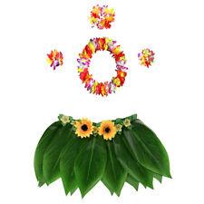 5x Hawaiian Costume Set Leaf Skirt with Garland Luau Beach Party Supplies