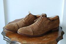 [Like-new] Aquila Semi-brogue Medium Brown Suede Derby Shoes - Size EU43 / US9½
