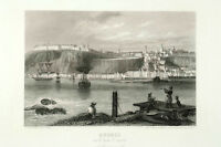 Print Quebec Old City harbor with ships, 1850 circa, France