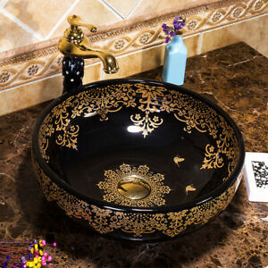 Handcraft Bathroom Black Round Ceramic Basin Vessel Sink Mixer Tap Pop Drain Set